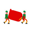 santa elf carry red bag elves porters man and vector image vector image
