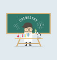 scientist in school lab coat with chemical vector image