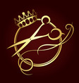 scissors and a crown of gold color symbol vector image