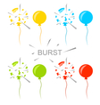 Set Colorful Popped Balloons Isolated vector image
