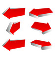 set of 3d red arrows in different directions left vector image vector image