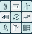 set of 9 transportation icons includes drink cup vector image