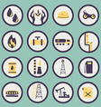set of icons of the gas and oil industry vector image vector image