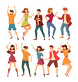 set of isolated dancing men and women vector image vector image