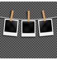 Set of photo frames on the rope with clothespin vector image vector image