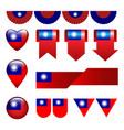 set of taiwan flag icon and label vector image vector image