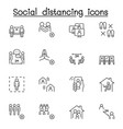 set social distancing related line icons vector image vector image