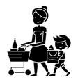 shopping grocery - mother with son and shopping vector image vector image