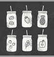 six smoothie jars chalk drawing on a blackboard vector image vector image