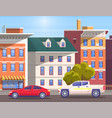street city center with vehicles on roads vector image