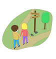 the boy and the girl choose the road vector image vector image