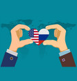 two male hands holding hearts with flags vector image