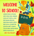 welcome back to school greeting card template vector image