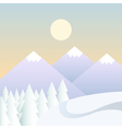 winter background with mountains in a daytime vector image