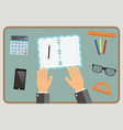 workplace concept top view hands calculator vector image vector image