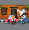 accident scene with car crash in front building vector image