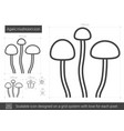 agaric mushroom line icon vector image vector image