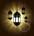 arabic lantern black shadow silhouette with sun vector image vector image