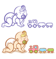 baby and train vector image vector image