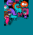 background with cartoon monsters vector image