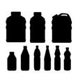 black silhouette plastic water bottle set healthy vector image vector image