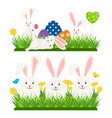 cartoon character easter bunnies and eggs vector image vector image