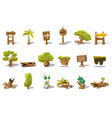cartoon set of flat nature elements for vector image vector image