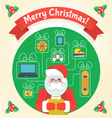 Christmas Card with Santa Claus and a Wishlist vector image vector image