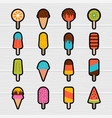 collection cute cartoon ice cream stickers vector image vector image