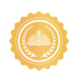 crown inside laurel wreath on round golden stamp vector image