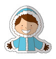 cute boy with winter clothes vector image