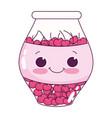 cute food jar with cherries sweet dessert kawaii vector image
