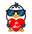 cute penguin character wearing sunglasses vector image vector image