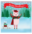 cute pig in the winter forest with gifts vector image