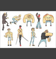 dangerous criminals set outlined comics style vector image vector image