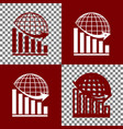 declining graph with earth bordo and vector image vector image