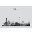 Delhi city skyline silhouette in grayscale vector image vector image