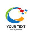 digital pixel initial letter c logo design vector image