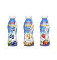 drinking yogurt in bottles set with berries vector image