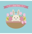 Easter card Easter basket with rabbit vector image