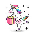fantasy skating unicorn vector image vector image