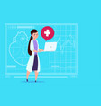 female doctor hold laptop computer online vector image vector image