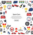 Flat car racing icons background with place