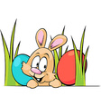 funny easter bunny peeking out from grass with vector image vector image