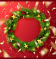 green christmas wreath with rowanstars and vector image