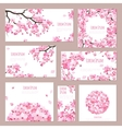 Greeting cards with blossoming sakura vector image vector image