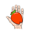 hand giving red apple icon cartoon vector image vector image