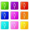 hand mirror icons set 9 color collection vector image vector image