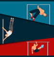 horizontal bar chin-up strong athlete man cards vector image vector image