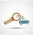icon key with keyring logo car sharing vector image